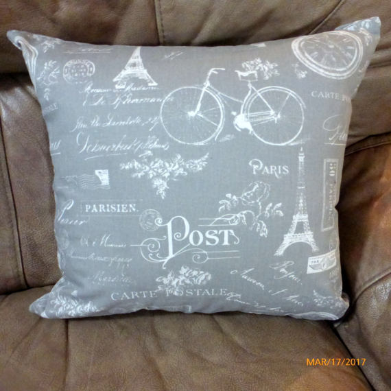 Premier Prints Paris Pillow Cover in storm  - Paris Pillow cover - French Country Decor - Julie Butler Creations