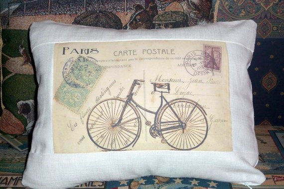 Pillow Covers - vintage French post card with bike - Paris - French Country Decor - Julie Butler Creations