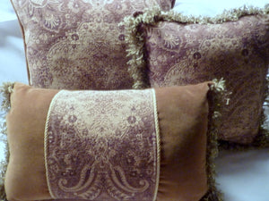 Tapestry Accent pillows - sofa pillows - Velvet and Tapestry pillows - complete set of 3