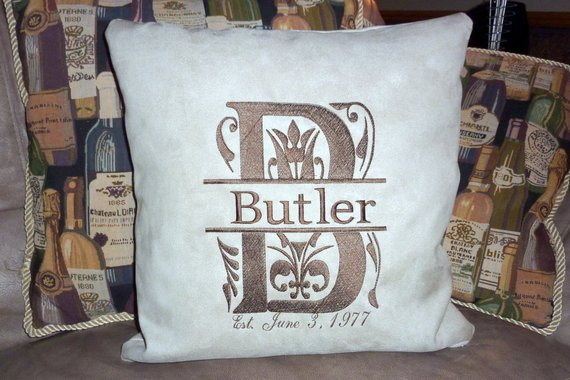 Monogrammed pillow cover - Personalized Pillow Cover - Embroidered Name and Est. Date - Julie Butler Creations