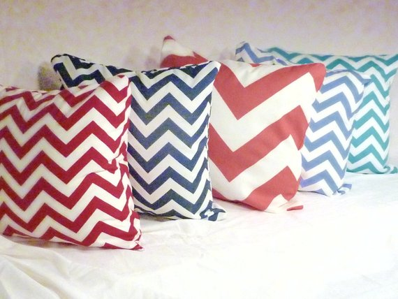 Chevron pillow cover - 12 colors - 18 or 20 inch pillow covers - Chevron on both sides - Julie Butler Creations