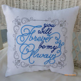 White Burlap wedding pillow - Romantic bed pillow - Engagement gift - Embroidered Pillow - Julie Butler Creations