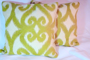 Ikat Pillow Covers -Chinelle Designer fabric - Chartreuse and Ivory - Accent Pillow covers - Julie Butler Creations