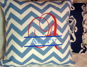 Monogrammed Chevron Pillow Cover - Personalized Embroidered Name Pillow - Childs room decor - Julie Butler Creations