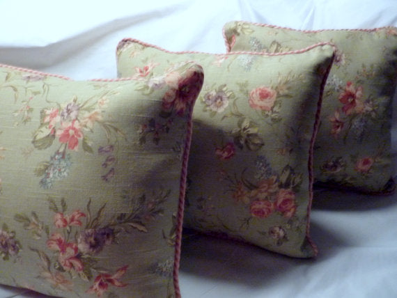 Designer fabric Pillow - Pillows - Decorative Pillows - sage green - 16x16  throw pillows - Julie Butler Creations