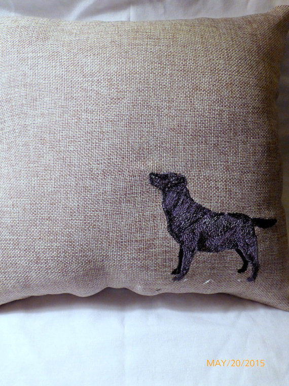 Black Lab Accent Pillow - embroidered burlap pillow - throw pillow - decorative burlap pillow - Julie Butler Creations