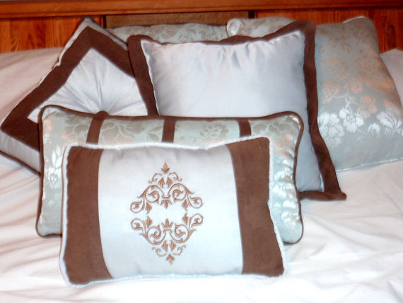 Set of 3 Decorative Pillows, Aqua and Brown. Stuffed ready to use, accent pillows16x16, 14x14, 10x15