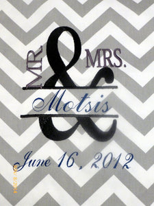 Embroidered Wedding pillow cover - Mr. an Mrs. pillow - Monogrammed pillow cover - Julie Butler Creations