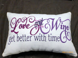 Embroidered Pillow - Love pillow - Linen pillow - Accent Pillow - Embroidered pillow - Julie Butler Creations