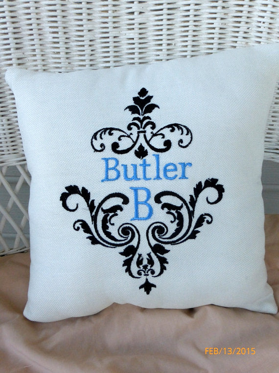 Monogrammed Pillow - Decorative Embroidered Pillow - Personalized Wedding Gift - Wedding pillow - Julie Butler Creations