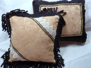 Set of 2 Decorative Pillows - Heavy Gold fabric with cherubs and black accents - Accent Pillows