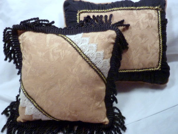 Set of 2 Decorative Pillows - Heavy Gold fabric with cherubs and black accents - Accent Pillows - Julie Butler Creations