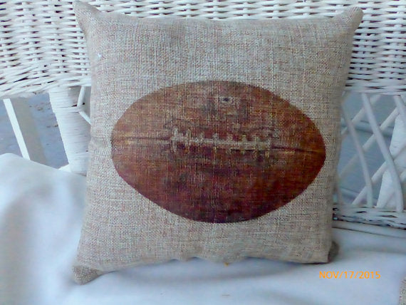 Football Pillows - Burlap pillows - Vintage sports pillows - Boys room decor  - Football decor - Julie Butler Creations