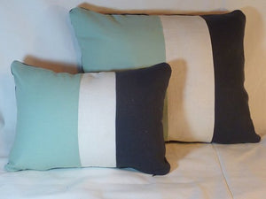Color Blocked Linen Pillow Covers - Aqua Mist, White and Black - Striped Pillow cover - Set of two - Julie Butler Creations