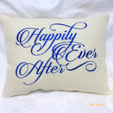 Wedding pillow - Burlap Pillow - Embroidered Burlap Pillow - Happily Ever After