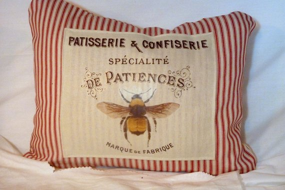 Bee Pillow Cover - French Ticking Pillow Cover - Bee pillow - Paris pillow - French Country decor - Julie Butler Creations