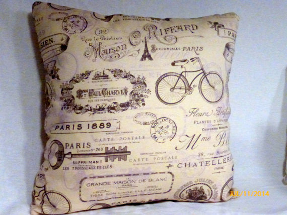 Decorative Pillow Cover -French Pillow - Paris pillow cover- French Country decor - Julie Butler Creations