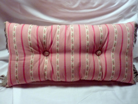 Lumbar pillow -12x24 - Accent Pillow - Pillows - fringed trim and covered buttons - Julie Butler Creations