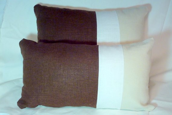 Brown and Ivory Linen Pillow Covers - Color blocked linen pillow - Linen Lumbar pillow - Julie Butler Creations
