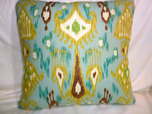 Turquoise Ikat Pillow Cover - Robert Allen - Turquoise - Ikat Pillow - linen blend - pillow covers - Julie Butler Creations