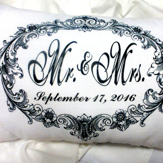Personalized Wedding Pillow - Personalized wedding gift - Anniversary Pillow - Mr. and Mrs. Pillow