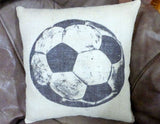 Burlap Soccer Pillow - Burlap pillows - Vintage sports pillows - Boys room decor- Football decor - Julie Butler Creations