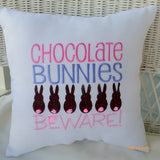 Easter pillow - Embroidered Pillow - White Burlap - Chocolate Bunnies Beware -Easter decorations - Julie Butler Creations