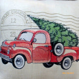Red Truck pillow cover - Embroidered Red Pickup Christmas Pillow - Burlap Christmas pillow