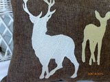 Burlap Pillow - Embroidered Deer pillow - animal pillow - Burlap deer pillow - deer silhouette - Julie Butler Creations