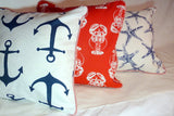 Nautical Pillow cover - Red and white Lobster pillow - Premier Prints indoor/Outdoor designer fabric - Julie Butler Creations