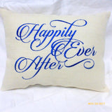 Wedding pillow - Burlap Pillow - Embroidered Burlap Pillow - Happily Ever After - Julie Butler Creations