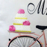 Mr and Mrs bike pillows - Wedding pillows - Embroidered Mr. and Mrs. pillows - Set of 2 - Julie Butler Creations