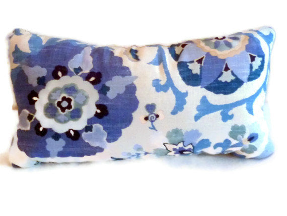 Lumbar Pillow - Suzani design - Designer fabric - Blue pillows - sofa pillows - Accent pillows - Julie Butler Creations