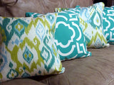 Decorative Ikat Pillow Cover - Mill Creek - Turquoise and Teal - Designer fabric - throw pillow - Julie Butler Creations