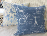 Premier Prints Paris Pillow Cover in Denim Blue - Paris Pillow cover - French Country Decor - Julie Butler Creations