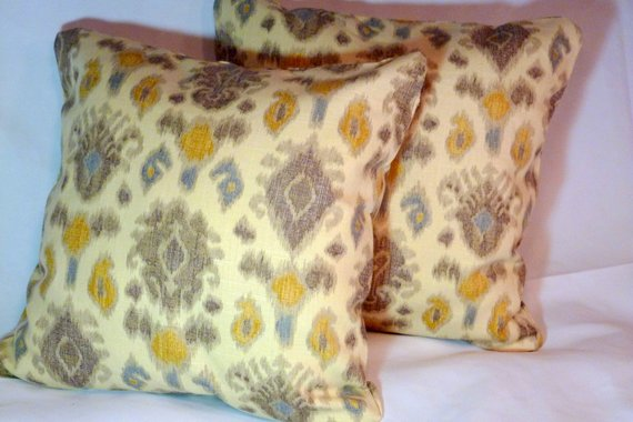 Ikat Pillow Covers - Accent pillows - set of 2 Pillow covers - Designer fabric - pillow covers - Julie Butler Creations