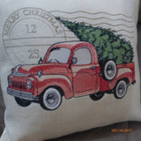 Red Truck pillow cover - Embroidered Red Pickup Christmas Pillow - Burlap Christmas pillow - Julie Butler Creations