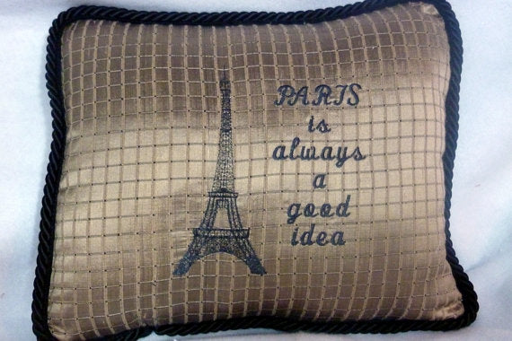 Eiffel tower pillow - Paris Pillows - Embroidered Eiffel tower - French country decor - Julie Butler Creations