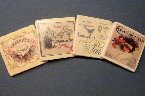 Drink coasters - Stone Coasters - French Perfume ads - Marble Coasters - Travertine coaster - Julie Butler Creations