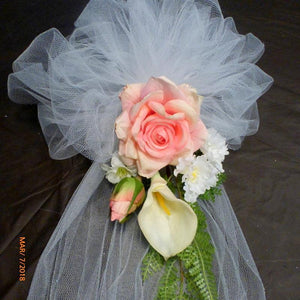Pink Rose Pew Bows - Pew Decorations - tiebacks for Arbor - Wedding decorations - Julie Butler Creations