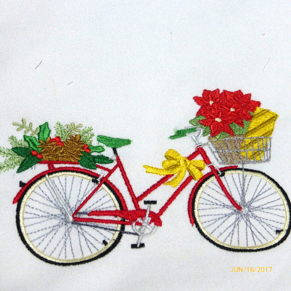 December Bike Pillow cover - Embroidered bicycle pillow - seasonal pillow covers - Christmas pillows - Julie Butler Creations