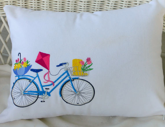 Bicycle Pillow covers - Embroidered bicycle pillow - seasonal bike pillow covers - Julie Butler Creations