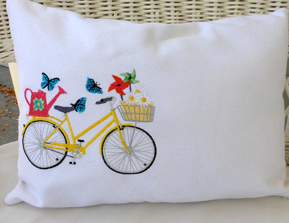 May Bike Pillow cover - Embroidered bicycle pillow - seasonal bike pillow covers - Julie Butler Creations