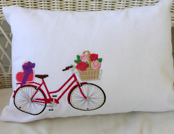 Valentine Bicycle Pillow covers - Embroidered bicycle pillow - bike pillow covers
