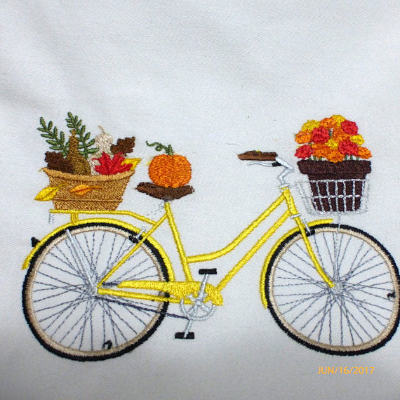 Fall Bike Pillow cover - Embroidered bicycle pillow covers - November bike pillow - Julie Butler Creations