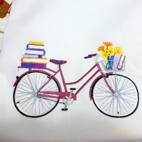 September Bike Pillow cover - Embroidered bicycle pillow - seasonal bike pillow covers