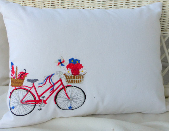 Bike Pillow cover - Embroidered bicycle pillow - 4th of July pillow covers - Julie Butler Creations