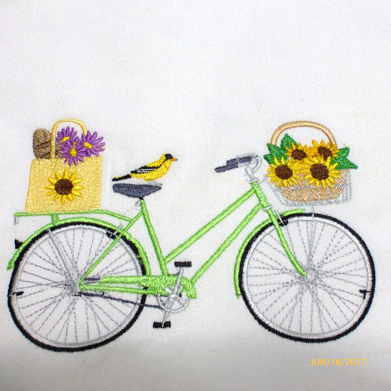 August Bike Pillow cover - Embroidered bicycle pillow - seasonal bike pillow covers