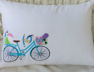 Summer Bike Pillow covers - Embroidered bicycle pillow - seasonal bike pillow covers - Julie Butler Creations
