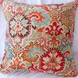 Ikat Pillow Cover - Linen blend pillow - Rust, orange pillow cover- accent pillow cover - Julie Butler Creations